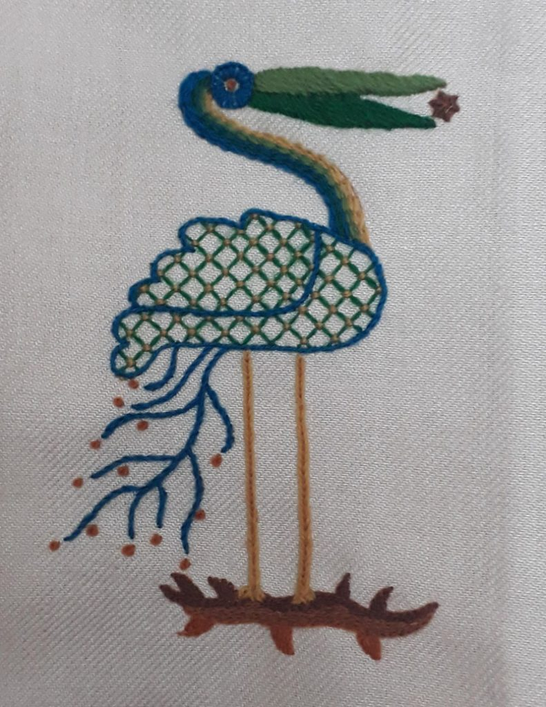 Completed crewelwork stock from an introduction to embroidery day class