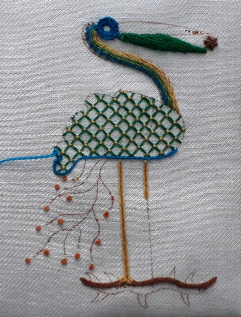 Crewelwork stork at the end of the day class