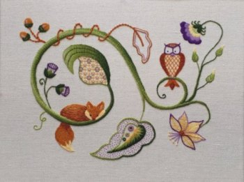 Jacobean crewelwork embroidery, scrolling vine with fox, owl and foliage