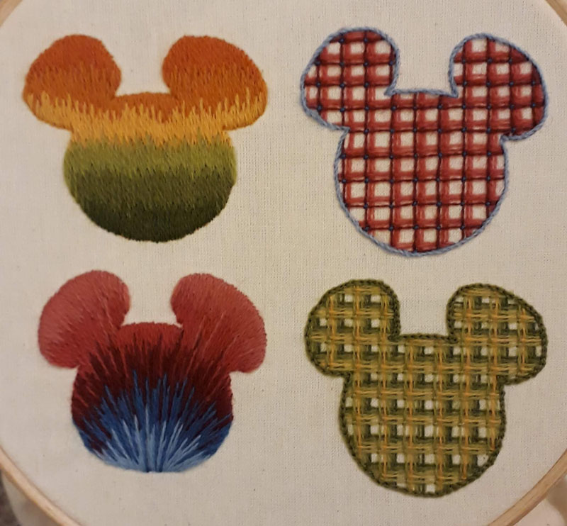 Samples of long and short and battlement trellis stitches
