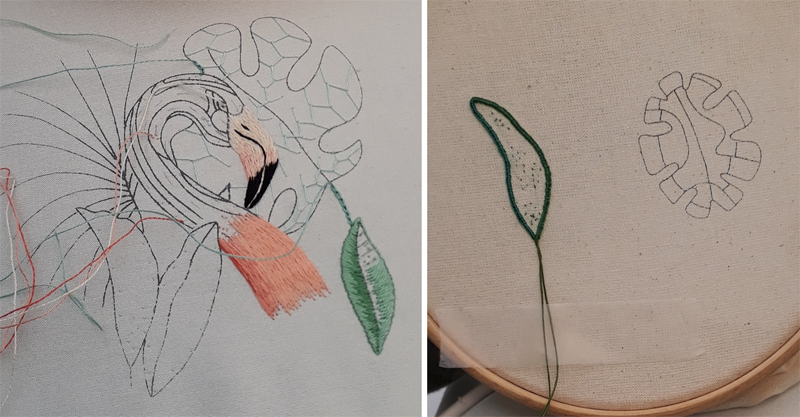 A silk shaded leaf is nearly complete, cretan stitch has been worked on a large leaf and the buttonhole stitch outline of a stumpwork leaf has been completed.