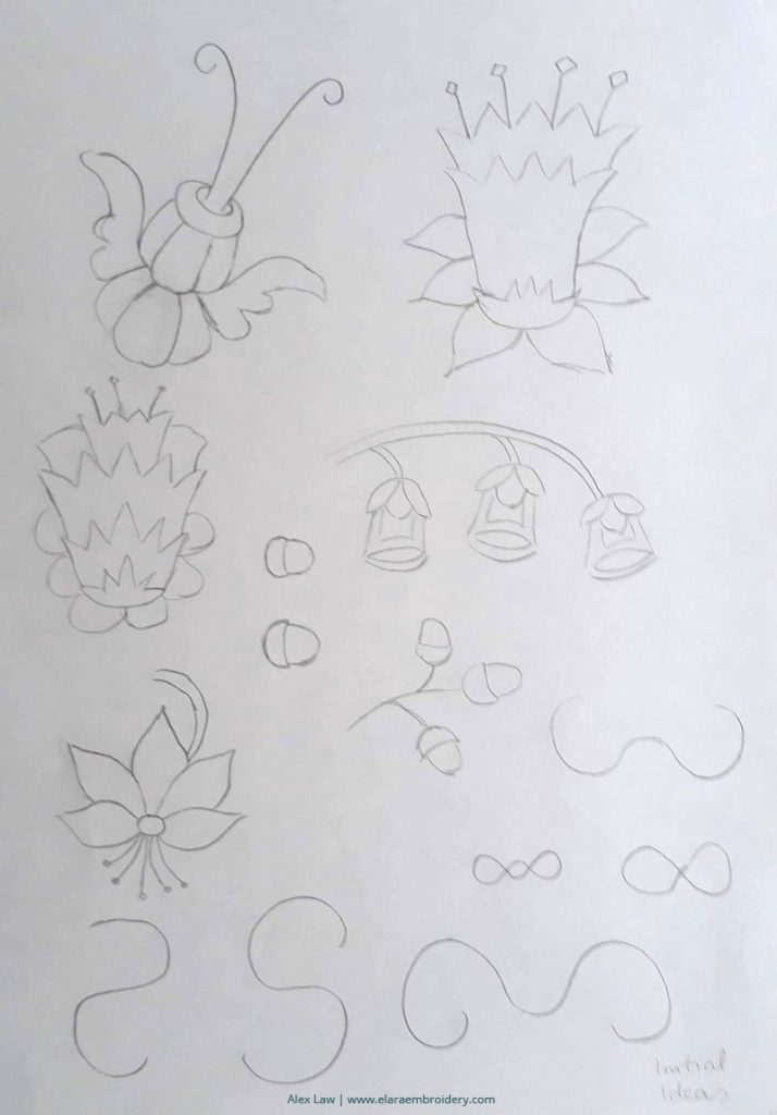 RSN certificate Jacobean crewelwork design process, drawing motifs that I like