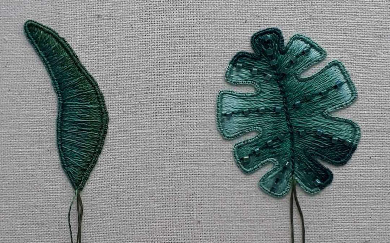 Completed leaves worked in silk shading, one has some additional beading detail.