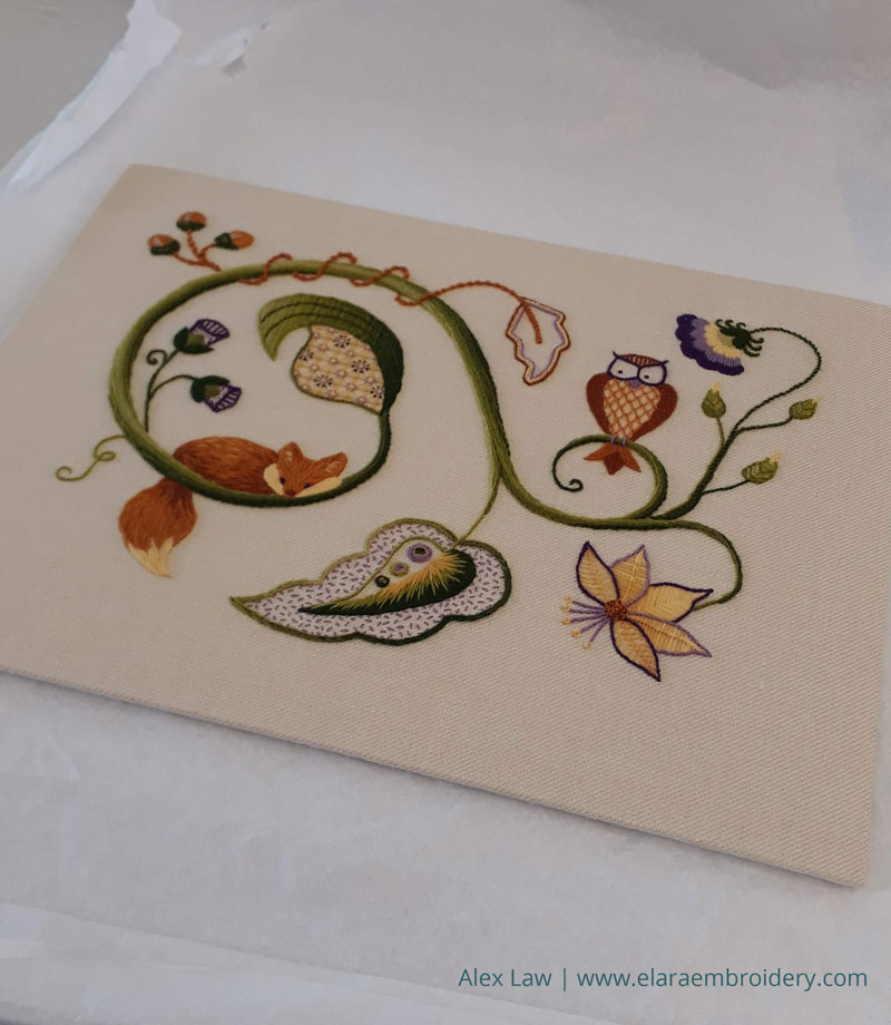 My RSN Jacobean crewelwork module piece mounted and ready for assessment.