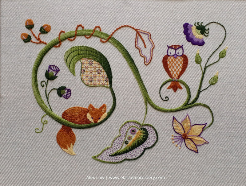 The finished piece for my crewelwork module, my first of the RSN certificate.