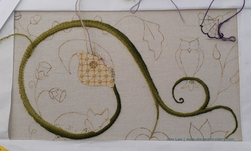 RSN Jacobean crewelwork during class 3 with raised stem band, trellis and the beginning of block shading