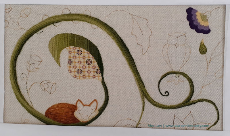 RSN Jacobean crewelwork progress with laid stitch shading