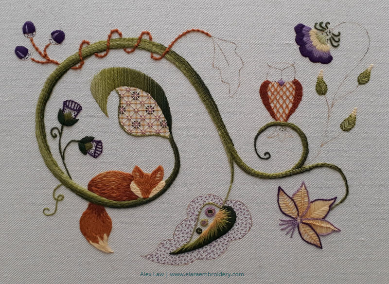 RSN Jacobean crewelwork progress around class 5