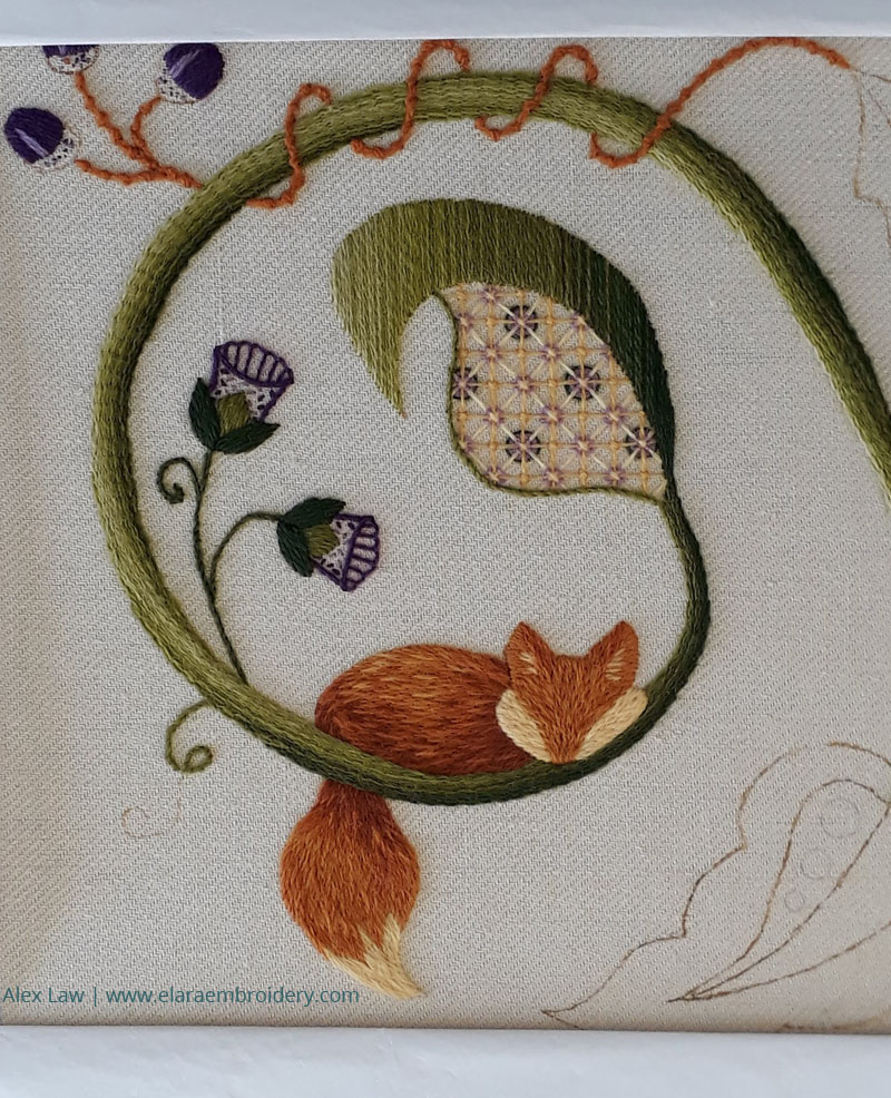 RSN Jacobean crewelwork in progress with silk shading fox