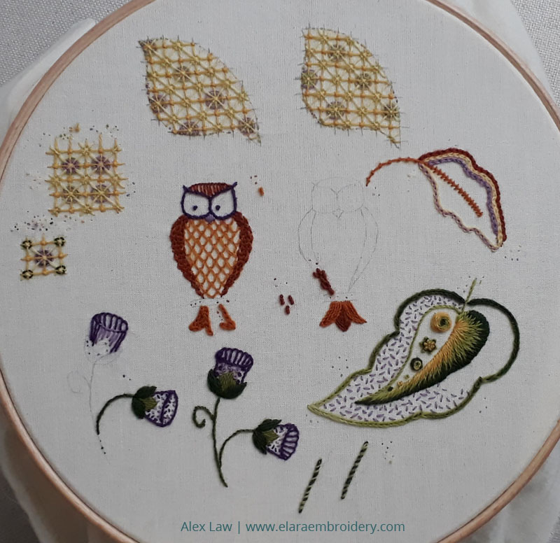 Sampling stitches for my RSN Jacobean crewelwork piece. Including different variations for the trellis, flowers, leaves and owl.
