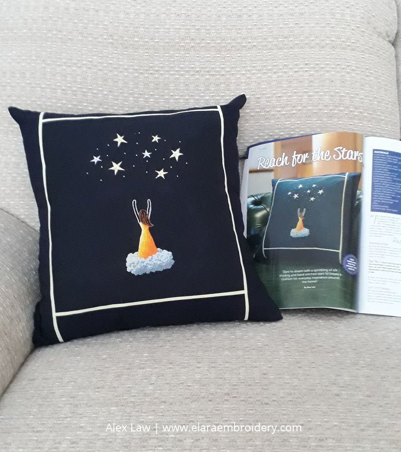 My completed reach for the stars cushion embroidery along with the photo of it in Stitch magazine.