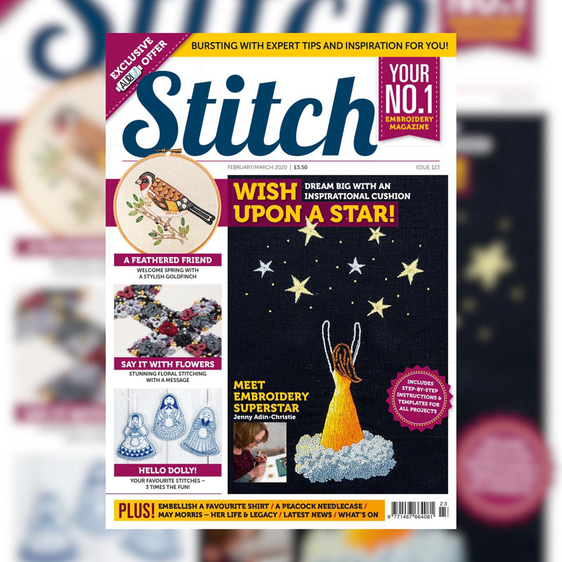 The cover of Stitch magazine 123 featuring my reach for the stars embroidery design.