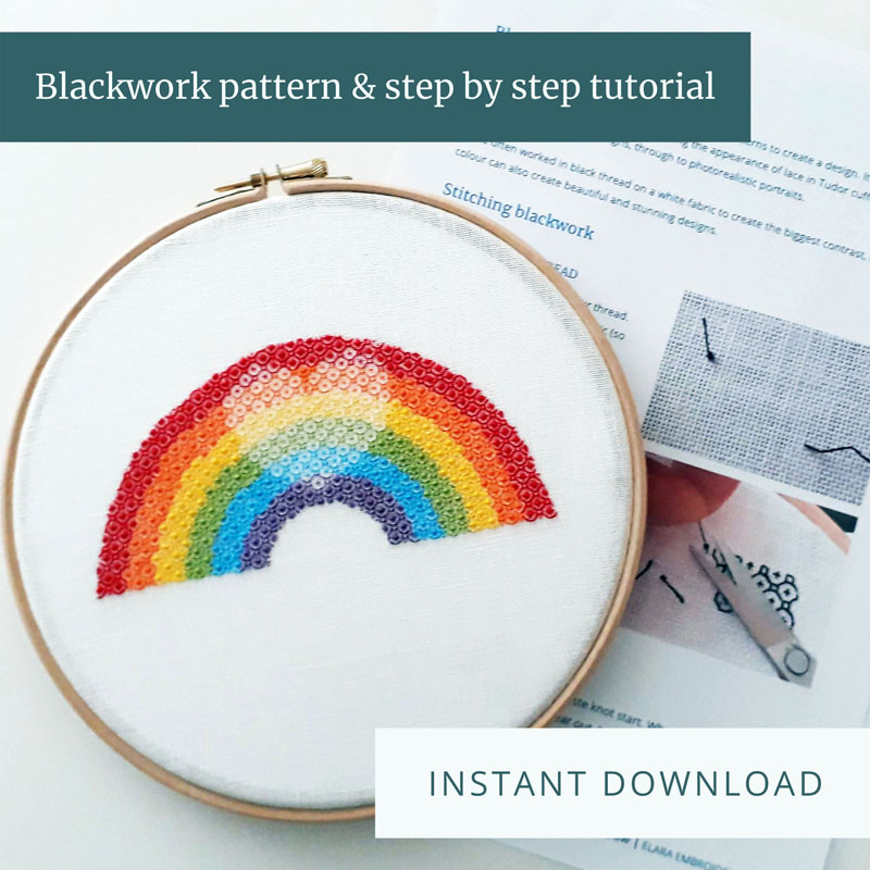 Instant download blackwork rainbow pattern and tutorial