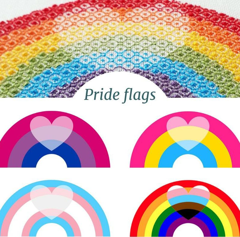 Pride flags embroidery inspiration for the blackwork rainbow pattern