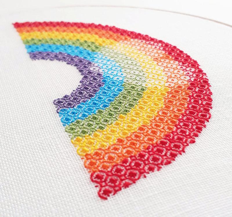 Blackwork rainbow with heart