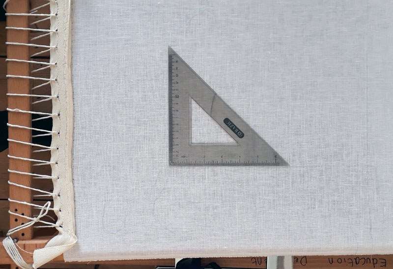 Using a set square to accurately frame up my linen evenweave