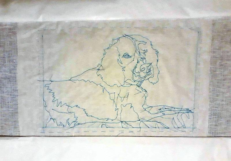 My blackwork design transferred to my linen using the tissue paper transfer method