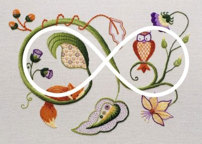Image showing how I used the infinity symbol as the foundation for my Jacobean crewelwork design
