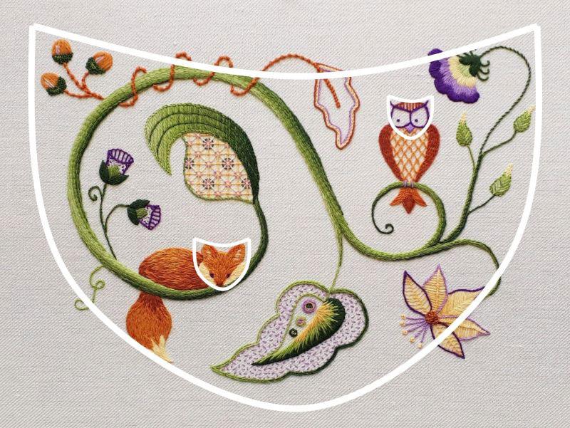 Image showing how the overall design of my Jacobean crewelwork mirrors the shapes of the fox and owl heads.