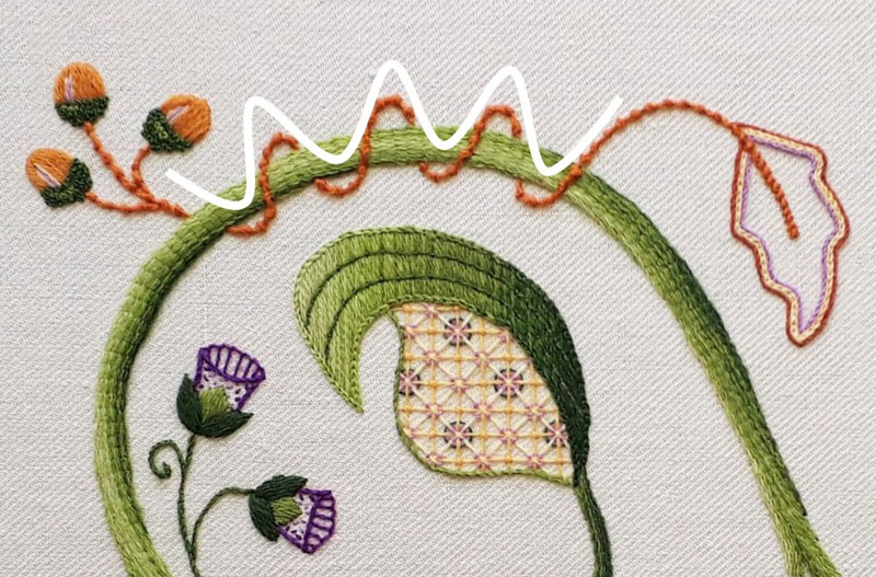 Image showing how I used the sine wave shape for the interweaving vine.