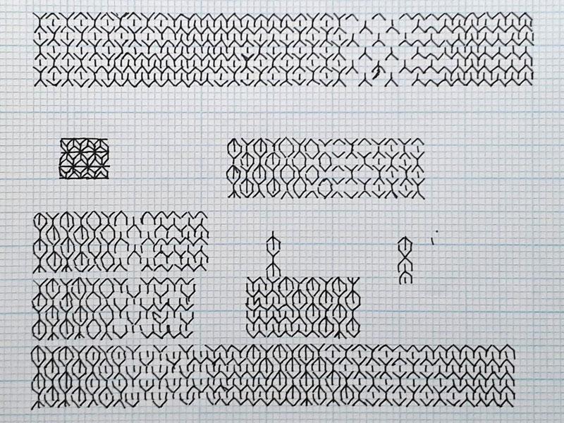 Image showing graph paper workings to figure out how three different stitch patterns can blend together.