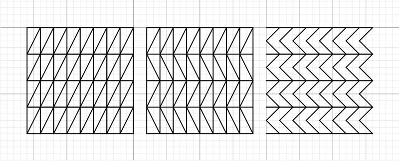 Three blackwork patterns that should blend smoothly with the waffle pattern due to having the same horizontal lines.