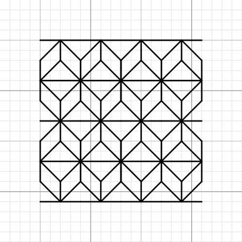 """The blackwork pattern referred to as """"waffle"""", densely stitched pattern good for darker tones."""