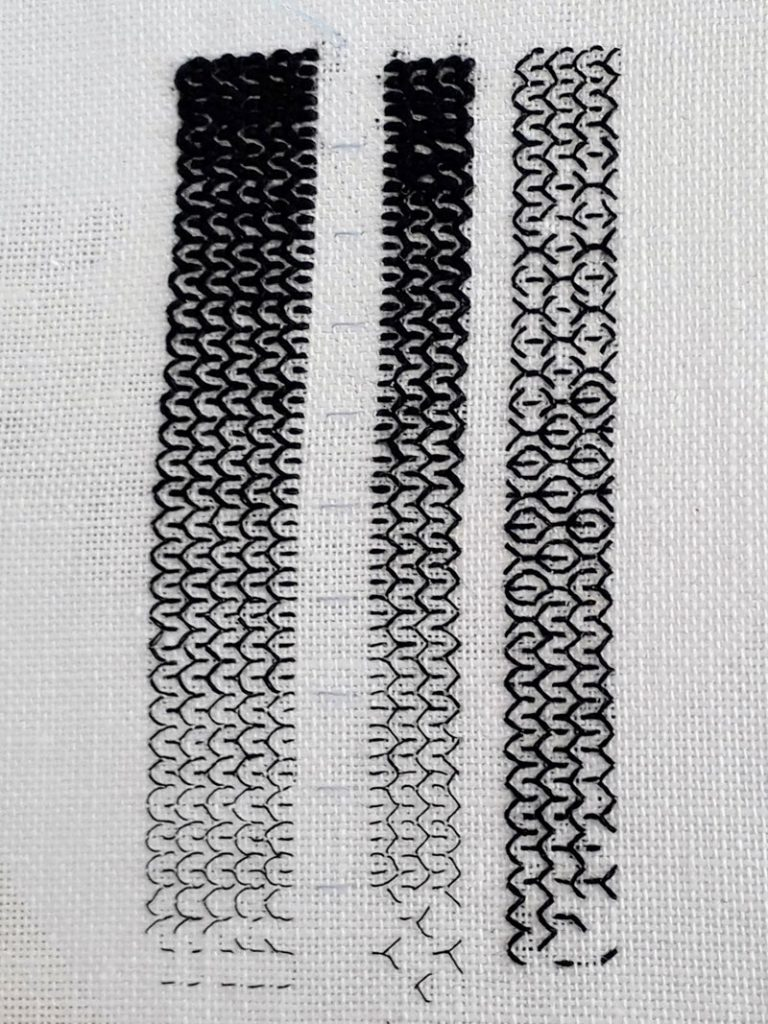 Three bands of blackwork sampling. 2 sampling from light to dark tones of a single stitch. The 3rd sampling the blending of 3 different stitches.