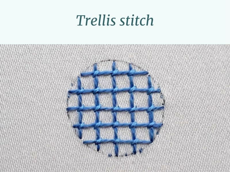 An example of trellis stitch using blue threads.