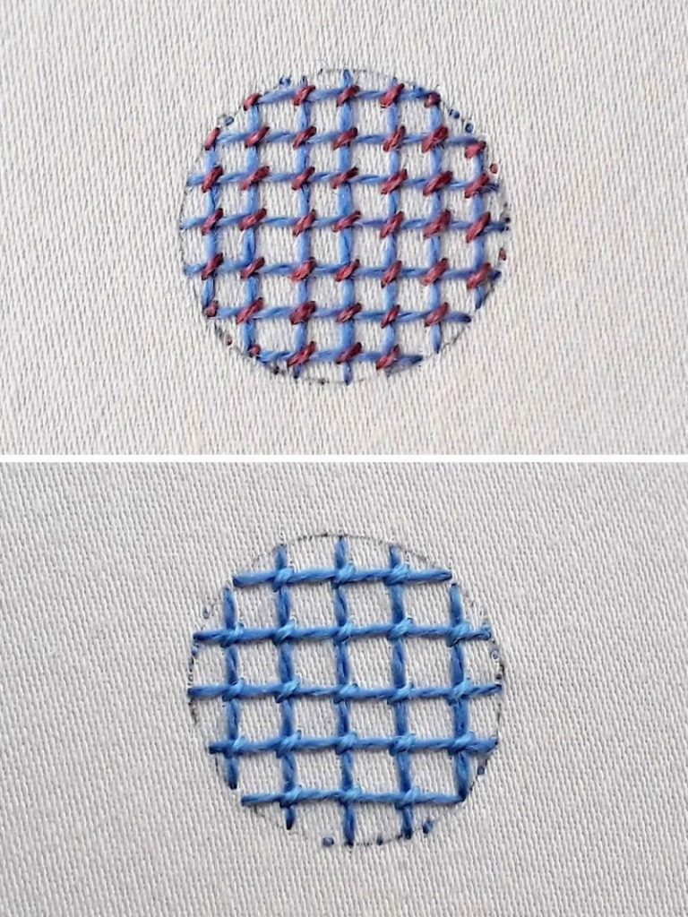 Two examples of completed trellis stitch. Above a blue grid with pink securing stitches. Below a blue grid with lighter blue securing stitches.
