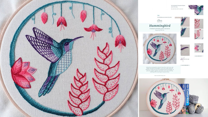 Crewel embroidery of a green and purple hummingbird surrounded by pink flowers.