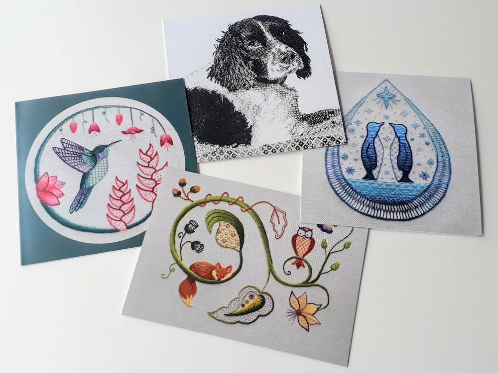 Image showing four embroidered art greeting cards, all featuring different animal designs.