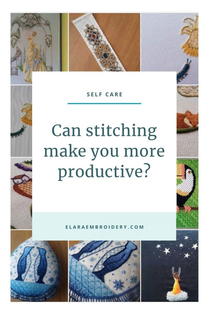 """A gallery of embroideries behind the text """"Can stitching make you more productive?""""."""