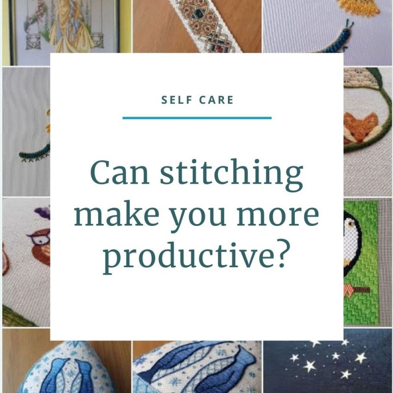 "Gallery of embroideries behind the text ""Can stitching make you more productive?""."