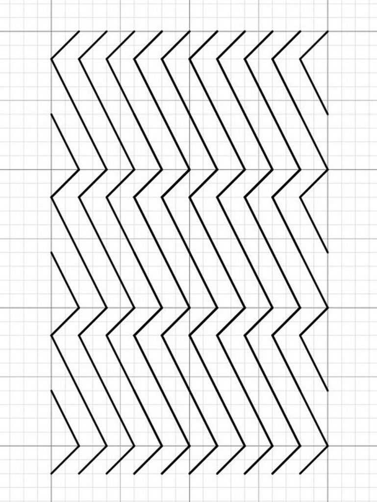 Diagonal lines pattern on a grid.