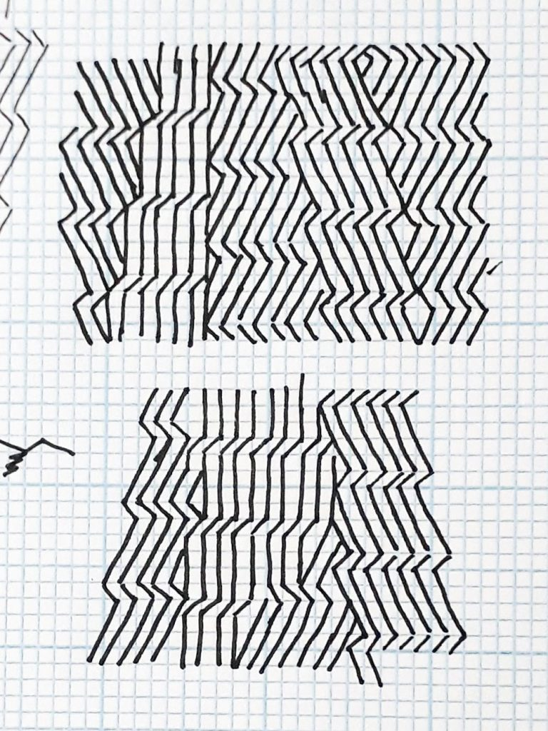 Pattern drawings on graph paper to test alignment of the different pattern rotations. In one alignment you can see kite shaped holes appearing in the pattern.