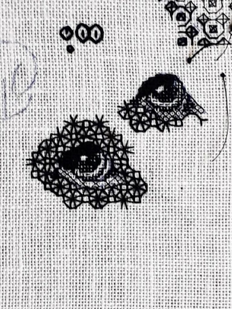 2 stitching samples of Bracken's eye.