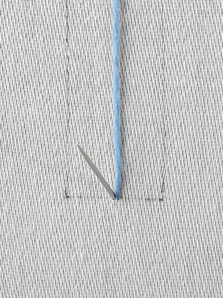 Needle coming up very close to the end of the previous stitch.