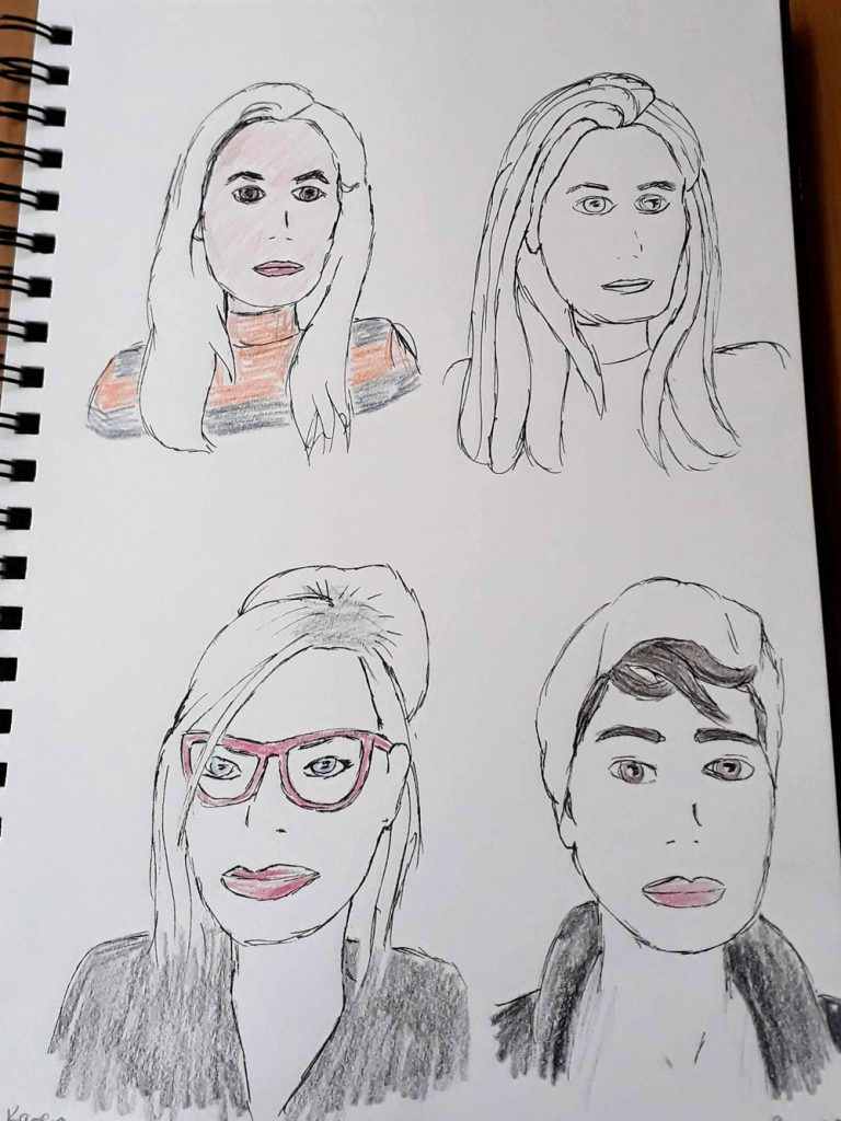2 self portraits and 2 portraits of other participants.