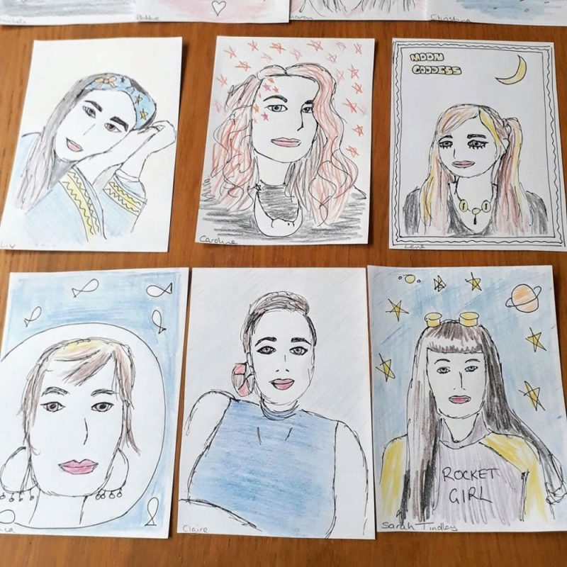 6 portraits drawn with black pen and colouring pencils.