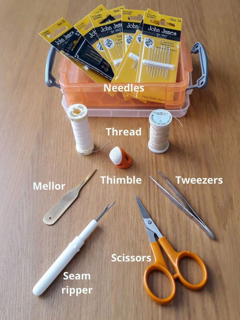 The contents of my embroidery box. These are my most used tools.