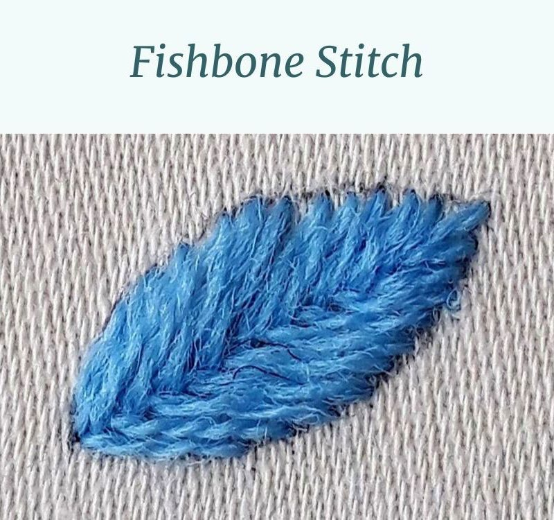 A pointy oval shape stitched in fishbone stitch with blue crewel wool.