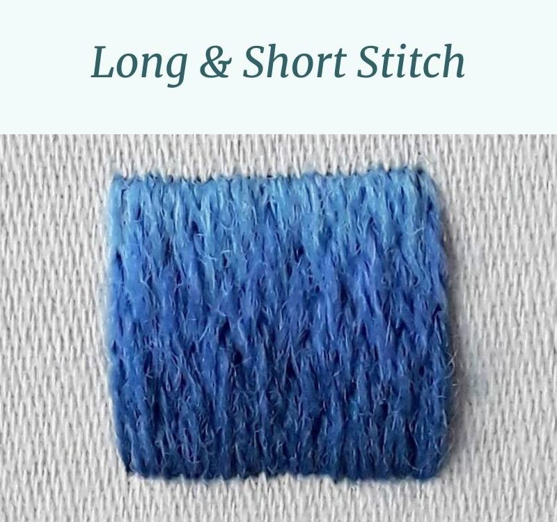 A square of stitching worked in shaded long and short stitch.