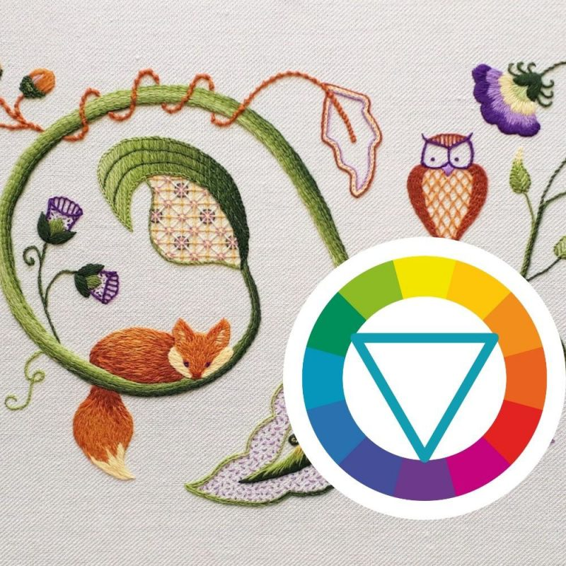 Jacobean crewelwork embroidery with colour wheel showing triadic colour scheme.