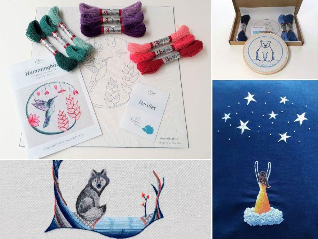 A selection of kits - hummingbird, polar bear, wolf, reach for the stars.