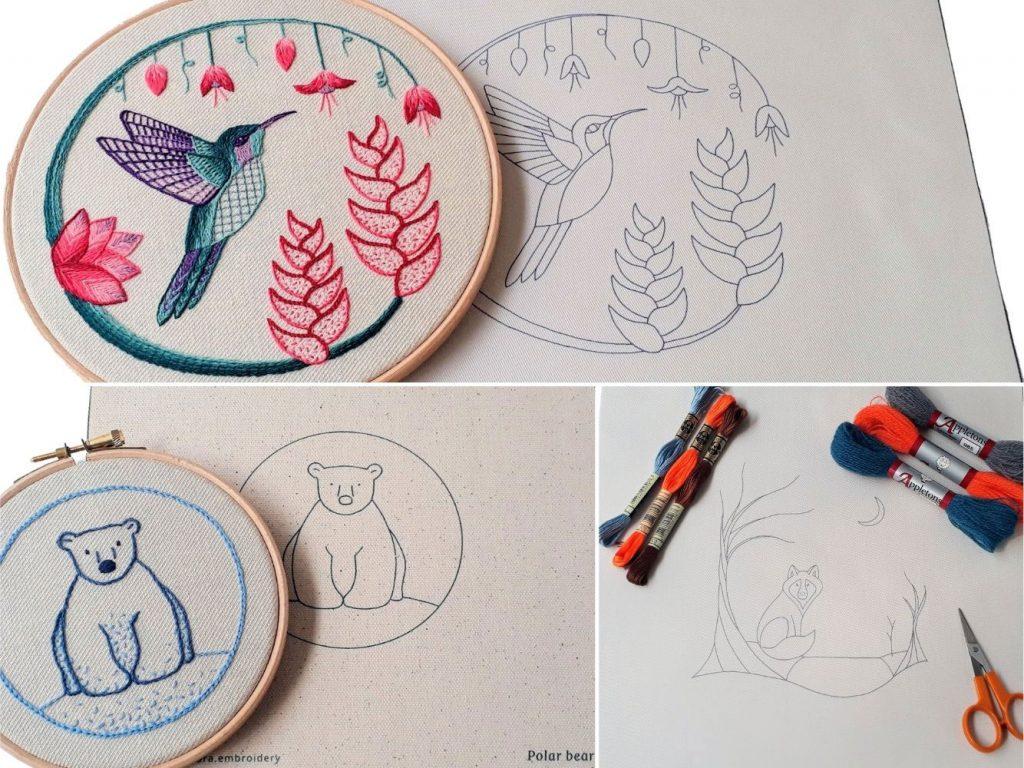 A selection of the printed fabric available - hummingbird, polar bear, wolf.
