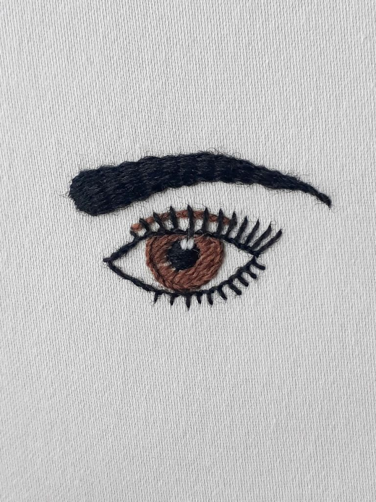 An eye and eyebrow stitched with black, brown and white crewel wool.
