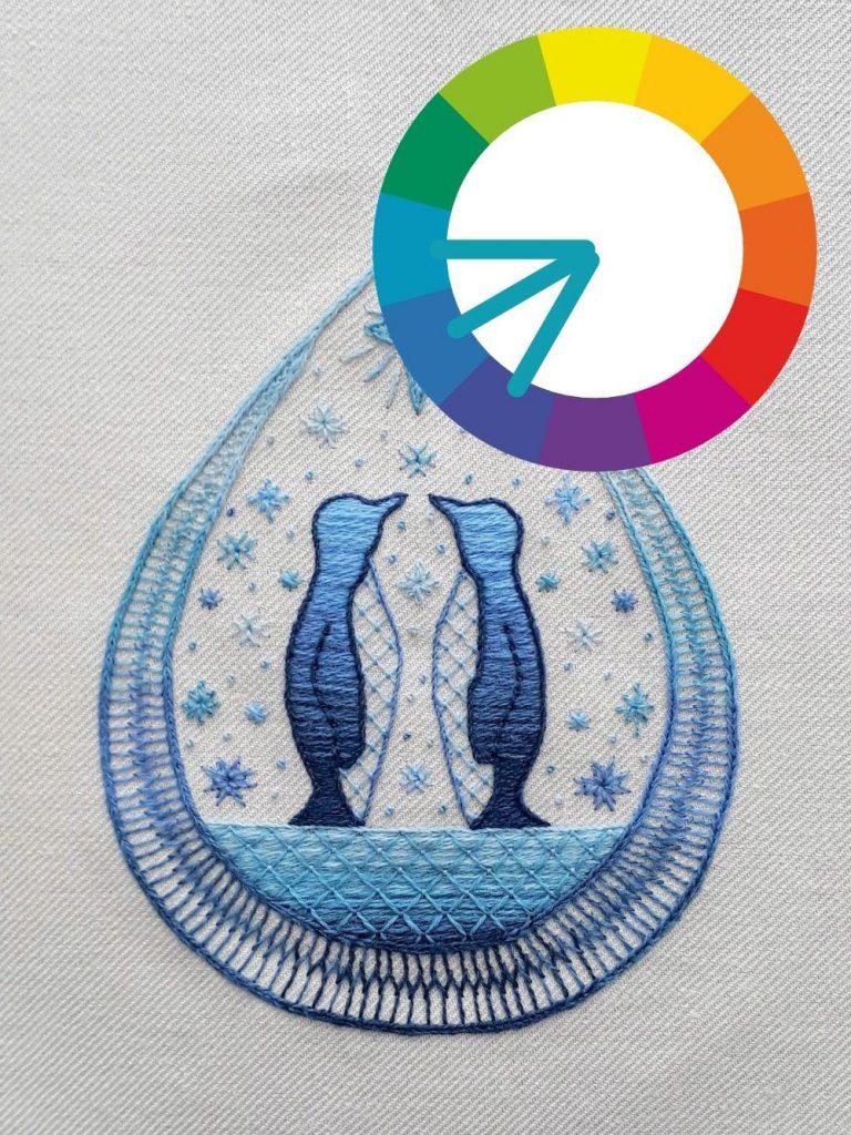 Penguins embroidery design using a harmonious colour scheme.