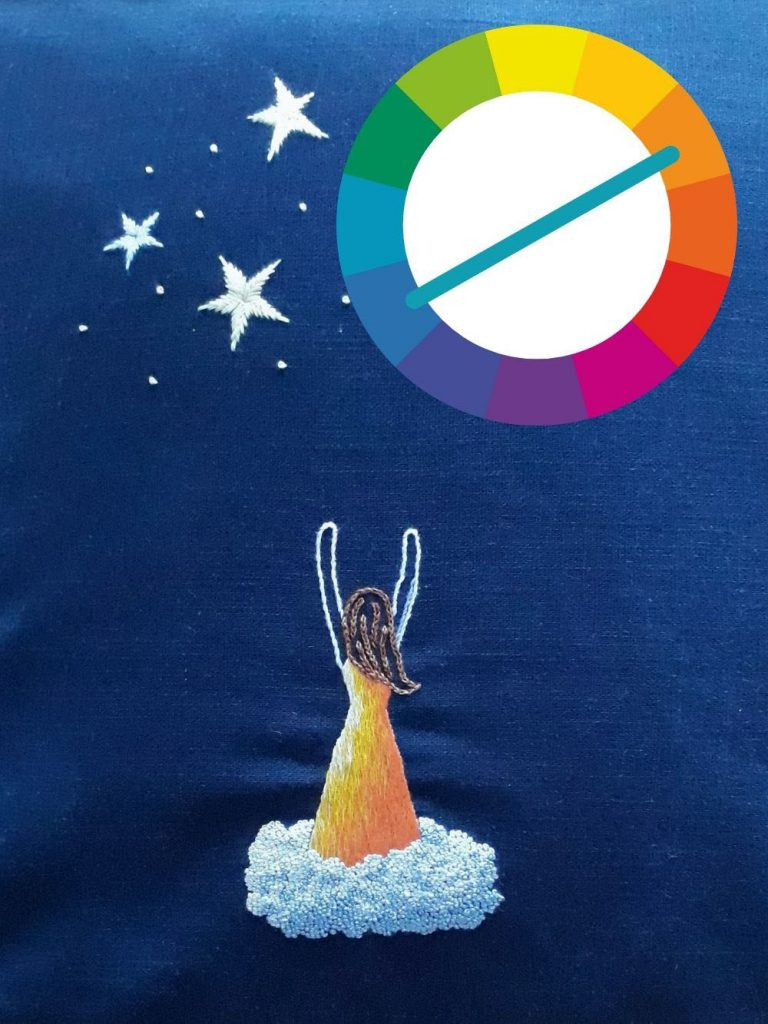 Reach for the stars embroidery using a complementary colour scheme.