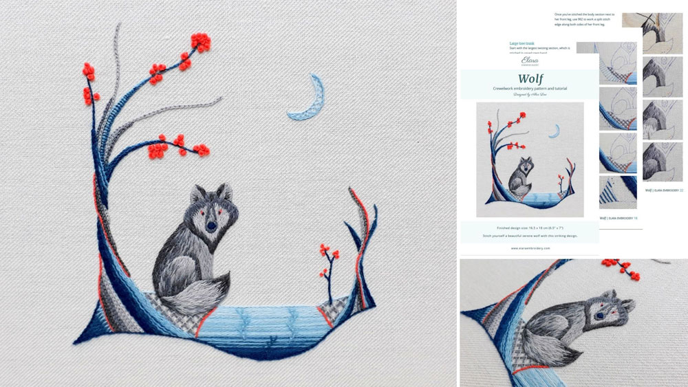 Crewelwork embroidery of a wolf sitting in a forest scene with trees, river and a crescent moon. Stitched with crewel wools in shades of blue and grey with a little orange.